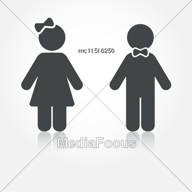 Grey Vector Man And Woman Icons With Shadows. Illustration For Print And Web Stock Photo