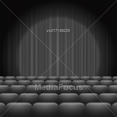 GreyCurtains With Spotlight And Seats. Classic Cinema With Grey Chairs Stock Photo