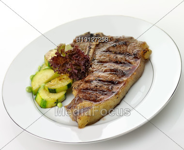 Grilled T-bone Steak And Vegetables , Close Up Stock Photo