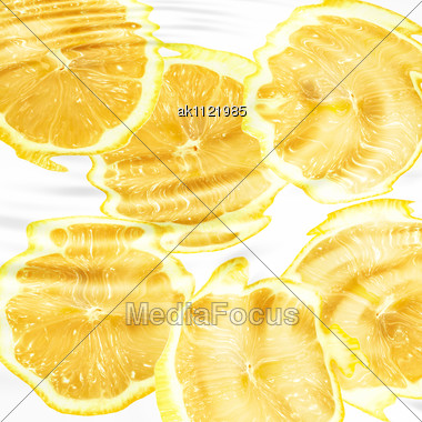 Group Of Cross A Citrus Fruits Under Water. Abstract Background. Close-up. Studio Photography Stock Photo