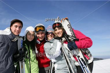 Group Of Friends At Ski Resort Stock Photo
