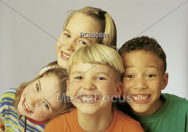 Group of Kids Smiling Stock Photo