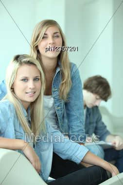 Group Of Three Teenagers Stock Photo