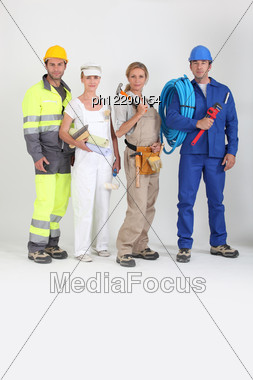 Group Of Workers Stock Photo