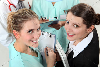 Group Of Young Nurses Stock Photo