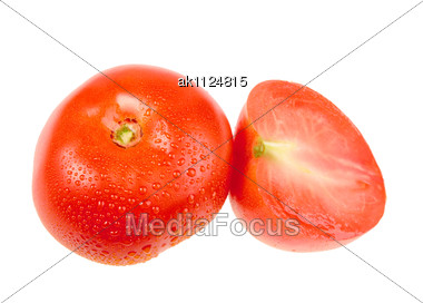 Group Of One Cross And Full Ripe Red Tomatoes With Dew Close-up Studio Photography Stock Photo