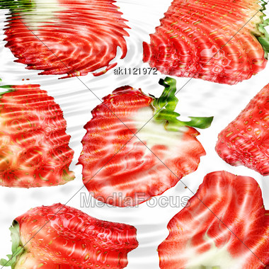 Group Of Red Strawberryes Under Water. Abstract Background. Close-up. Studio Photography Stock Photo