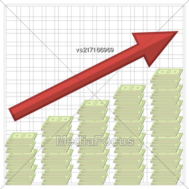 Growth Of Dollars. American Banknotes. Cash Money. US Currency Stock Photo