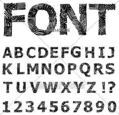 Grunge Alphabet. Hand Drawn Vector Illustration Stock Photo