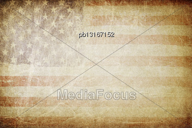 Grunge American Flag Background. Perfect For Text Placing Stock Photo