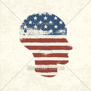 Grunge American Flag Themed Head Symbol. Vector, EPS10 Stock Photo