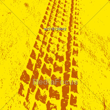Grunge Background With Black Tire Track. Vector Illustration Stock Photo