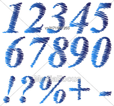 Grunge Blue Numbers Isolated On White Background Stock Photo