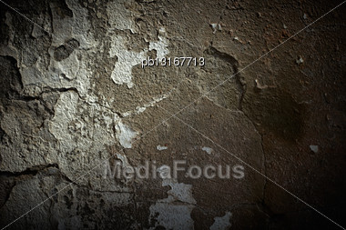 Grunge Cement Wall With Dramatic Light Stock Photo