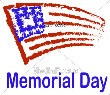 Grunge Flag Of America. Memorial Day Celebration Poster. Memorial Day American Flag. Memorial Day Background Stock Photo