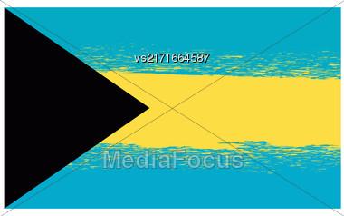Grunge Flag Of Bahamas Isolated On White Background Stock Photo