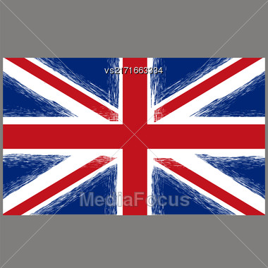 Grunge Flag Of United Kingdom On Grey Background. English Symbol Of Independence Stock Photo
