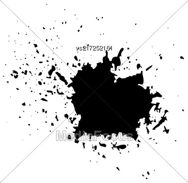 Grunge Ink Background. Textured Black Splatters. Dust Overlay Distress Grain. Grunge Blob Pattern Stock Photo