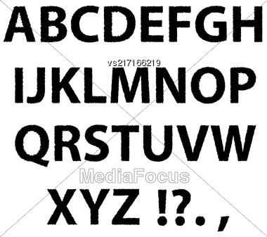 Grunge Letters Isolated On White Background. Black Ink Alphabet Stock Photo