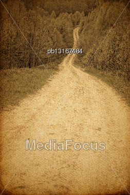 Grunge Photography Of Rural Road Stock Photo