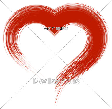 Grunge Red Heart Icon Isolated On White Background Stock Photo