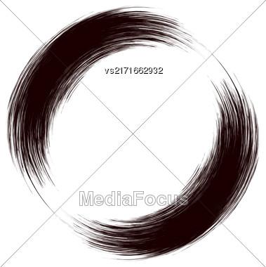 Grunge Round Frame Isolated On White Background Stock Photo