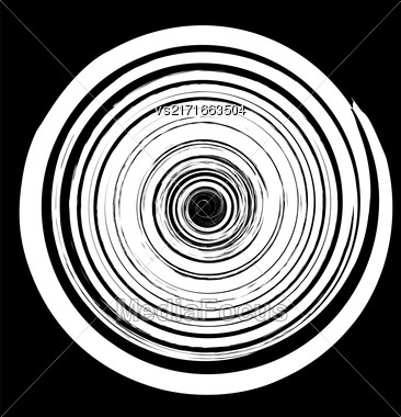 Grunge Round Pattern Isolated On Black Background. White Spiral Splatter Stock Photo