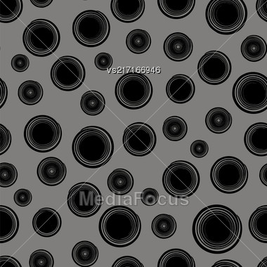 Grunge Round Seamless Pattern Isolated On Grey Background. Black Spiral Splatter Stock Photo