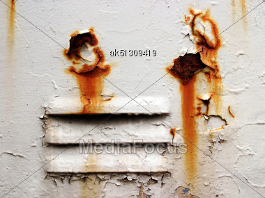 Grunge Ventilation With Corrosion Holes Stock Photo