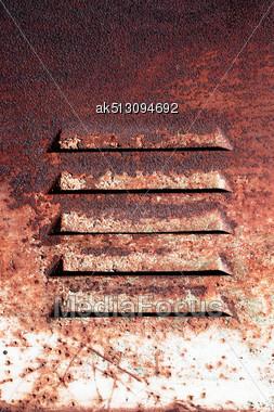 Grunge Ventilation With Corrosion Holes Stock Photo