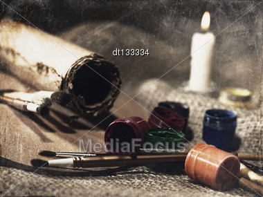 Grungy Art Still Life With Paint And Brushes Stock Photo