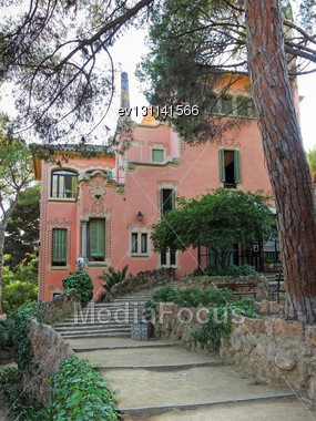 Guell Park Of Antonio Gaudi , Barcelona, Spain Stock Photo