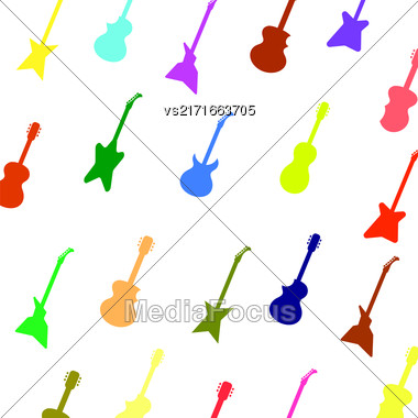 Guitar Background. Set Of Colorful Silhouettes Of Different Guitars Stock Photo