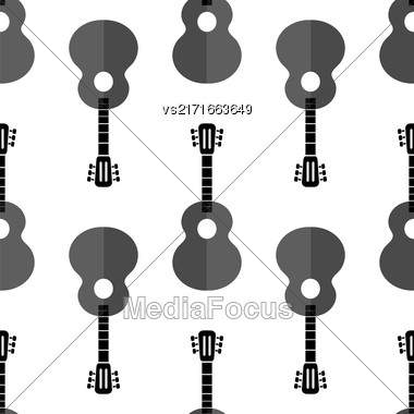 Guitar Silhouette Seamless Background. Musical Instrument Pattern Stock Photo