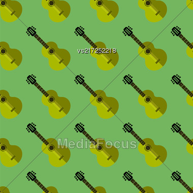 Guitar Silhouette Seamless Green Background. Musical Instrument Pattern Stock Photo