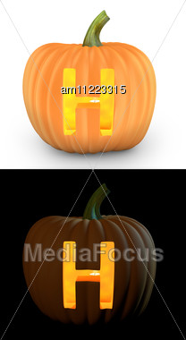 H Letter Carved On Pumpkin Jack Lantern Stock Photo