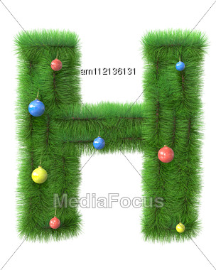 H Letter Made Of Christmas Tree Branches Stock Photo