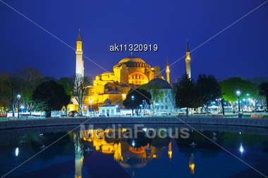 Hagia Sophia In Istanbul, Turkey Early In The Night Stock Photo