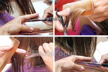 Hair Cutting Set Of Hair Stylist At Work With Scissors Stock Photo