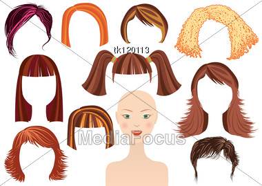 HairstyleWoman Face And Set Of Haircuts Fordesign Stock Photo