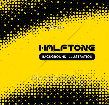 Halftone Illustration. Black And Yellow Vector Background Stock Photo