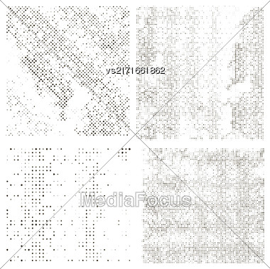 Halftone Patterns. Set Of Halftone Dots. Dots On White Background. Halftone Texture. Halftone Dots. Halftone Effect Stock Photo