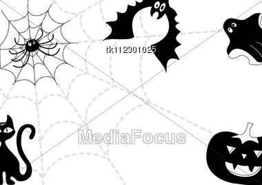 Halloween background.Black silhouettes on white Stock Photo