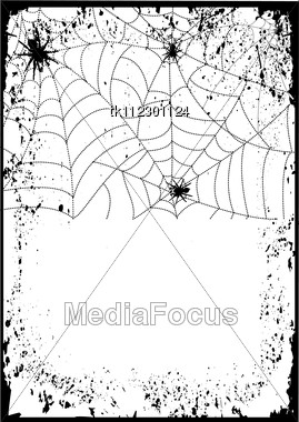 Halloween Background Card.Web With Black Spiders Stock Photo