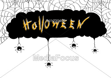 Stock Photo Halloween Background Card Web Black Spiders - Image ...