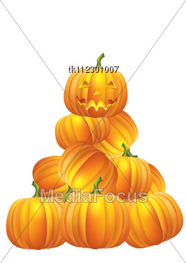 Halloween Card.Vector Image With Pumpkins Elements Stock Photo