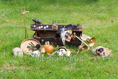 Halloween Decorations Of A Scary Scene At The Farm Stock Photo