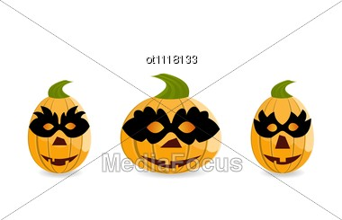 Halloween Gang Of Pumpkins Dressed In Masks Are Stock Photo