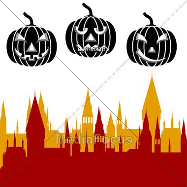 Halloween Pumpkin And Castle Tower. Vector Illustration Stock Photo
