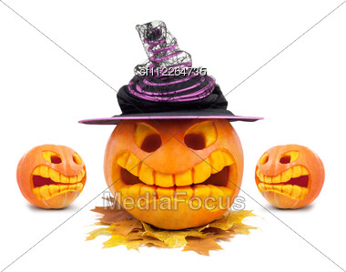 Halloween Pumpkin With Hat And Leaf Stock Photo